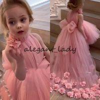 Розовый розовый пачка цветок девушки платья с длинным поездом 2020 прекрасная высокая шея 3d цветочные маленькие принцессы младенческие девушки
