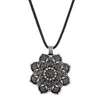 Цветок лотоса Мандала Ожерелье с Кожаной Веревкой Тибетский Буддийский Защита ожерелье Женщины Мужчины DIY Ювелирные Изделия Дружбы