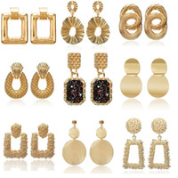 2019 pendientes de la vendimia grandes para las mujeres pendientes de la declaración geométrica de color dorado pendientes pendientes de metal de moda joyería de moda