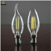 Эдисон Нить Диммируемый Led свечи лампы 2W 4W E14 E12 Светодиодные лампы Свет Высокая яркость E27 СВЕЧИ 85-265