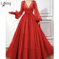 2020 Sexy roter Dichter Lange Ärmel A-line-Prom Kleider Vintage V-Ausschnitt Pailletten Abendkleid Plus Größe Brautjungfer Formale Partykleider