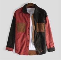 Mens Designer Panelled Revers Langarm-Shirt Corduroy Qualitäts-Kragen-beiläufige Oberseiten-Kleidung Rot Blau Braun