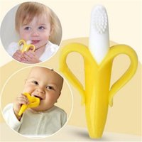 Baby Silicone Training Toothbrush Banana Shape Safe Toddle T...
