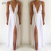 Oeak Sexy V-образным вырезом без рукавов летнее платье женщин белый макси длинное платье с высокой талией мода повязка вечеринка Boho Beach Vestido