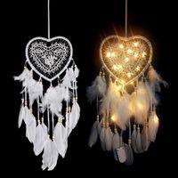 Penas LED Handmade Coração Luz Coletor ideal Glowing Início Ornamento Wall Hanging Decoração suprimentos dom Wind Chime Craft frete grátis