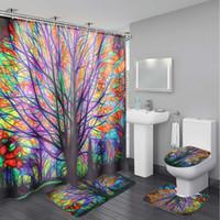 Planta Waterproof Padrão 180x180cm colorido da árvore de Banho Shower Curtain Com 12 ganchos + 3Pcs Tapete de Banho Decoração
