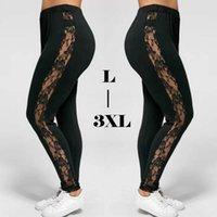 Taille Plus Femmes Sexy Holllow Out Sexy Legging dentelle taille haute Bandage Pantalon Legging Insérez Sheer