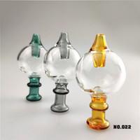 Glass Bubble Carb Protezione Con perla di vetro colorato Vetro 30mmOD Carb Tubi Cap Per bordo smussato quarzo Banger Nails Dab Water Rigs TT