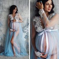 2020 Kadınlar Yeni Yaz Dantel Annelik Elbise Hamile Annelik Elbise Fotoğraf Sahne Kostüm Gebelik 2019 # K17