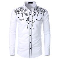 أزياء رجالية الغربية الدنيم قميص الرجال العلامة التجارية تصميم مطرزة ضئيلة عارضة طويلة الأكمام قميص حفل زفاف