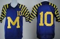 Presa di fabbrica-Cheap Michigan Wolverines # 10 Tom Brady Blue Jersey # 10 Brady Ncaa College Autentica magliette da calcio Spedizione gratuita 2014 Nuovo