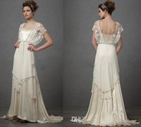Hot Sale Lace Capped Short Sleeves Wedding Dresses Cheap A L...