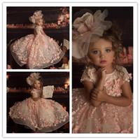 استحى الوردي الأميرة زهرة الفتيات فساتين لحفل الزفاف جوهرة الرقبة 3d الزهور حبة الاطفال مهرجان اللباس الكرة ثوب طفل رواية العباءات