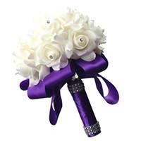 Yeni Düğün Buket Şerit PE Köpük Yapay Çiçekler Gelin Nedime El Buket Gelin Köpük Holding Çiçekler Düğün Malzemeleri