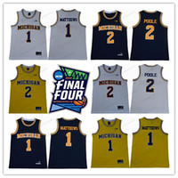 미시간 울버린 2 요도짜리 NCAA 대학 유니폼 대학교 망 농구 최고 품질의 S-3XL