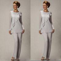 Gelin Damat Boncuklu şifon Düğün Abiye Giyim Abiye BA2466 Annesi İçin Şık Plus Size Gümüş Anneler Pantolon Suit