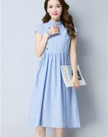 نمط اللباس الصيف الصينية A-خط لباس المرأة عارضة فضفاض مخطط اللباس القطن الكتان vestidos دي فيستا شحن مجاني