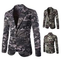 Abiti da sposa vestito degli uomini di affari di modo casuale dimagrisce Camouflage Cotton Mens Blazer Uomo maschio giacca M-XXL