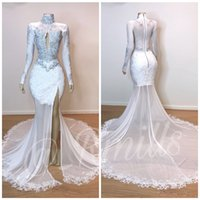 2019 Sexy Lace Split Side Mermaid Prom Dresses High Collar W...