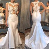2020 플러스 사이즈 우아한 새틴 인어 댄스 파티 드레스 섹시한 환상 레이스 아플리케 페이지를 통해 스위프 기차 이브닝 가운 vestidos 드 noivas
