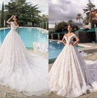 Weg von der Schulter LaceFull Spitze A Linie Brautkleider Tulle Appliques mit Perlen verziert Sommer-Strand-Hochzeit Brautkleider Vestidos De Novia 2020
