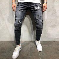 Erkek Sıkı Skinny Biker Jeans Tahrip Slim Fit Kot Pantolon Erkek Elastik Bel Harem Pantolon Ripped Jeans