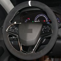 Hand шов Black Suede DIY ручной сшитый рулевое управление автомобилем колесо Обложка для Cadillac ATS CTS