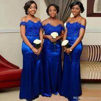 Vestidos de dama de honor azul real Apliques de encaje de talla grande Vestido de invitado de boda para niñas negras Vestido de dama de honor con sirena fuera del hombro Personalizado