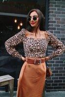 New Square Kragen beiläufige Frauen übersteigt Blusen Leopard lange Hülsen-Chiffon- Hemd Mode-Druck