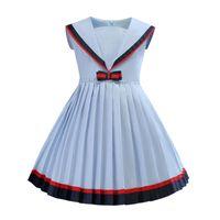 فتاة بحار طوق الأزرق اللباس البحرية طوق قصيرة الأكمام أنيقة مطوي الأميرة اللباس الاطفال مصمم الملابس اللباس