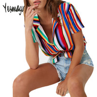 Streetwear Blouse Women Plus Size Summer Striped Chiffon Shi...