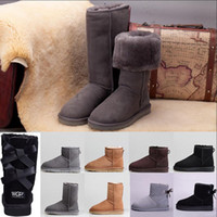 Womens designer boots bow fur boot winter black Chestnut siz...