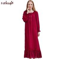 봄 가을 새로운면 잠옷 Fdfklak M-XXL 플러스 사이즈 여성 여성 잠옷 Q1469 T200110 긴 잠옷 밤 드레스 nighties