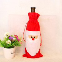 New Santa Claus Gift Bags Christmas Decorations Red Wine Bot...