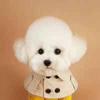 Cuello de perro Beige PET PET BANDANA BANCERA Estilo británico Capa de la caza Cuello Cuello de gato para Pequeño Perrito Perrito Vendaje Accesorios BIB