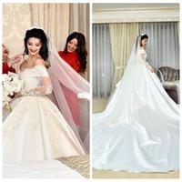 Lange Ärmel Lace Appliques Ballkleid Brautkleider 2020 Formale Brautkleider Individuell angepasste Satin Vestidos de Mariee Hochzeitskleidung Prinzessin