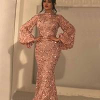 2020 Bling Denizkızı Allık Pembe payetli Gelinlik Modelleri Arapça Seksi Yüksek Boyun Uzun Kollu ışıldamaya Artı boyutu Örgün Parti Elbise Abiye Giyim