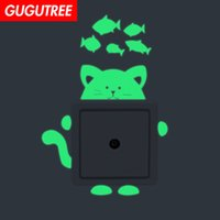 Decorate Home Diy cats fish cartoon art glow wall sticker de...
