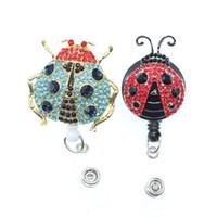 10pcs / lot Rhinesotne Insetto animale insetto Ladybug ID Badge Holder con clip Yoyo Retractable Retractable Name Badge Reel