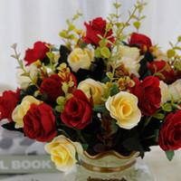 decorazione di nozze in stile casa europea bouquet di fiori di rosa artificiali 12 artificiali falsi fiori di seta panno DHL il trasporto XD22736