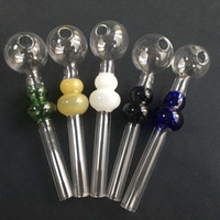 20pcs Yeni Calabash Cam Boru Pyrex Yağ Brülör Borular Renkli Cam Yağ Brülör Boru Mini El Boru Dab Tütün Araçları için Sigara Aksesuarları