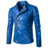 Fashion Mens Leather Jackets Blue black Slim Fitted Blouson ...
