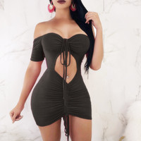 Women Off Shoulder short sleeve hollow out bodycon sexy party nightclub drawsting Outfits Package Hip Skirts