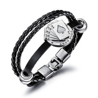 Men' s Leather Bracelet playing cards pendant Jewelry Wo...