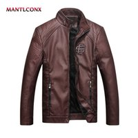MANTLCONX 2019 Faux Leather Cappotti Uomo Zipper Winter Autumn Coat Giacca da moto Tuta sportiva nera Giacca in pelle marrone da uomo