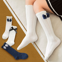 3 pairs lot girl socks soft cotton lovely knee bow- knot sock...