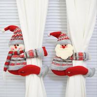 Мультфильм Кукла занавес Пряжка Window Декор снеговика Санта Elk Окно Скрининг клип Главная Новогодние украшения Xmas подарок