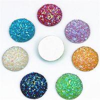 Micui 100pcs 16 milímetros de cristal AB Flatback Rodada strass Cabochão gemas, Plano Voltar Resina Rhinestone Para ZZ188 Decoração DIY