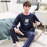 Cute Cartoon Thick Warm Flannel Pajama Sets For Men 2020 Win...