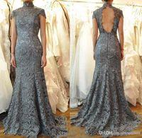 Prom Dress elegante su ordine Setwell Grigio sirena del merletto del vestito da sera di alta del collo Backless Abiti da sera